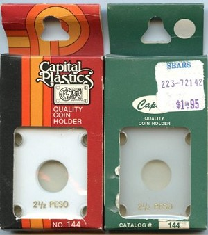 "Capital Plastic #144 Holder ""2-1/2 Peso"" Mexico Gold - White - Close out"