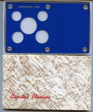 "Capital Plastics ""Anniversary Year"" 5-Coin Holder Cent to Half Dollar Blue"