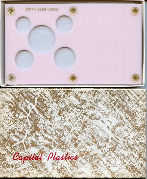 "Capital Plastics ""Birth Year Coins"" 5-Coin Holder, Pink"