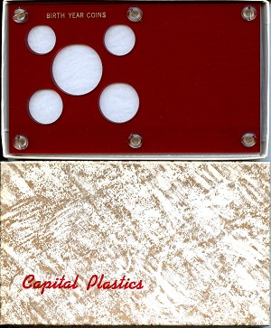 "Capital Plastics ""Birth Year Coins"" 5-Coin Holder, Red"