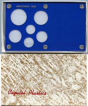 "Capital Plastics ""Anniversary Year"" 6-Coin Holder Cent to Half Dollar and Small Dollar (26.5mm), Blue"