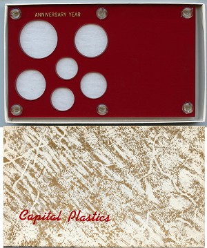"Capital Plastics ""Anniversary Year"" 6-Coin Holder Cent to Half Dollar and Small Dollar (26.5mm), Red"
