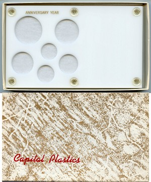 "Capital Plastics ""Anniversary Year"" 6-Coin Holder Cent to Half Dollar and Small Dollar (26.5mm), White"