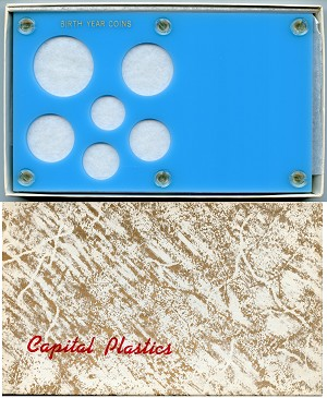 "Capital Plastics ""Birth Year Coins"" 6-Coin Holder Cent to Half Dollar and Small Dollar (26.5mm), BabyBlue"