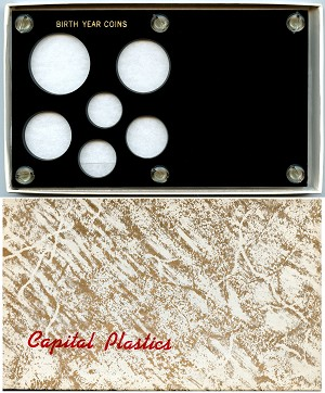 "Capital Plastics ""Birth Year Coins"" 6-Coin Holder Cent to Half Dollar and Small Dollar (26.5mm), Black"