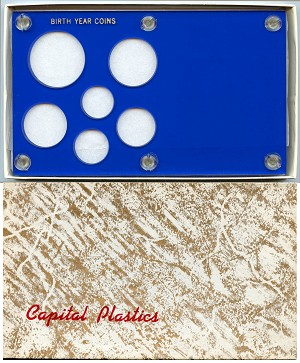 "Capital Plastics ""Birth Year Coins"" 6-Coin Holder Cent to Half Dollar and Small Dollar (26.5mm), Blue"