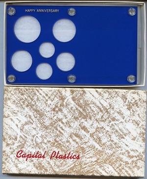 "Capital Plastics ""Happy Anniversary"" 6-Coin Holder Cent to Small Dollar (26.5mm), Blue"