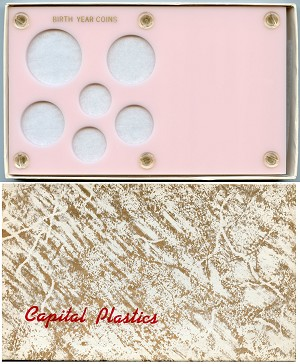 "Capital Plastics ""Birth Year Coins"" 6-Coin Holder Cent to Half Dollar and Small Dollar (26.5mm), Pink"