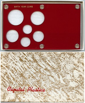 "Capital Plastics ""Birth Year Coins"" 6-Coin Holder Cent to Half Dollar and Small Dollar (26.5mm), Red"