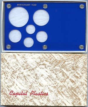 "Capital Plastics ""Anniversary Year"" 6-Coin Holder Cent to Large Dollar 38.1mm - Blue"