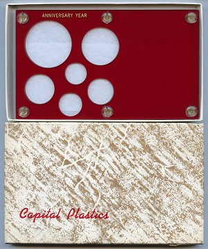 "Capital Plastics ""Anniversary Year"" 6-Coin Holder Cent to Large Dollar 38.1mm - Red"
