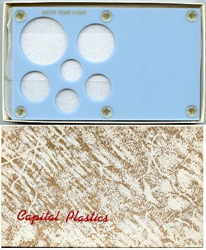"Capital Plastics ""Birth Year Coins"" 6-Coin Holder Cent to Half Dollar and Large Dollar 38.1mm, Baby Blue"