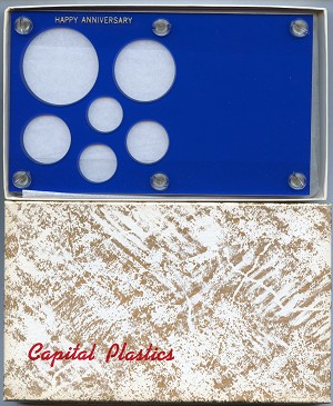 "Capital Plastics ""Happy Anniversary"" 6-Coin Holder Cent to Large Dollar 38.1mm - Blue"