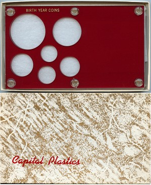 "Capital Plastics ""Birth Year Coins"" 6-Coin Holder Cent to Half Dollar and Large Dollar 38.1mm, Red"
