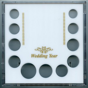 "Capital 6.5"" x 6.5"" Galaxy case Wedding Year photo stand up coin frame with 11 openings for .01, 2-.05, .10, 5-.25, .50 & Small $ (26.5mm)  - White"