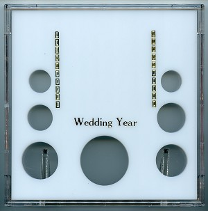 "Capital 6.5"" x 6.5"" Galaxy case Wedding Year photo stand up coin frame with 7 openings for 1¢ to Small Dollar and Silver Eagle - White"