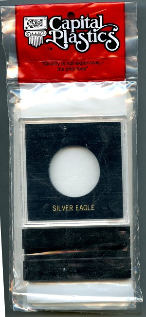 Capital Plastic Greeting Card Coin Holder - Silver Eagle - Black