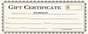 $100.00 Gift Certificate at www.jakesmp.com