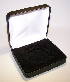 Single Coin Black Leatherette Clamshell Gift Box - 3¼  X 3  X 1