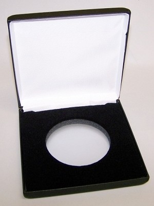 "Single Medallion Black Leatherette Clamshell Gift Box -  5"" x 5"" x 1"" - Display 50.8mm or 65mm Direct Fit"