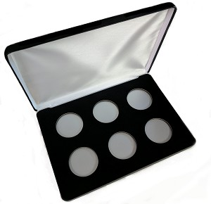 Six Coin Black Leatherette Clamshell Gift Box - 10  X 7  X 1 3/16
