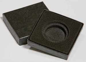 Single Coin Black Paper Wrapped Box - 3  X 3  X 5/8