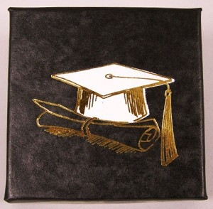 "Graduation Black cardboard box with a black insert card Gift Box - 3"" x 3"" x 5/8"""
