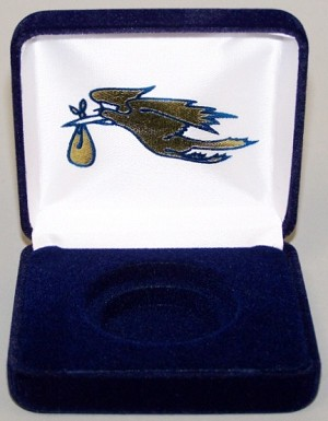 New Arrival (Baby) Single Coin Blue velvet metal clamshell  Gift Box - 3¼  X 3  X 1