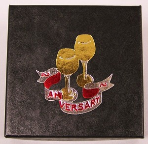 "Anniversary Single Coin Black Cardboard Gift Box - 3"" x 3"" x 5/8"""