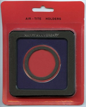 Air-Tite Frame Holder - Happy Anniversary - 1 oz. Silver Medallion 39mm  - Blue