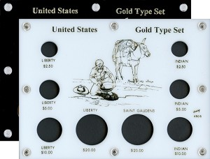 "Capital Plastics 6"" x 8"" United States Gold Type Set 8-Coin With ILLUSTRATION"