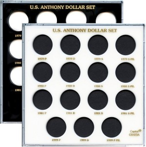"Capital Plastic 6.5"" x 6.5"" 15 Coin Galaxy Holder U.S. Anthony Dollar Set (Without Type II)"