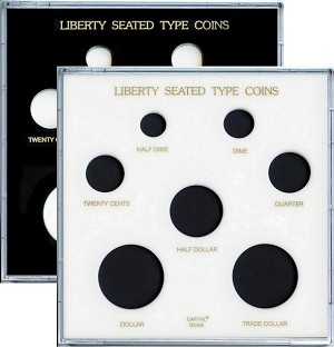 "Capital Plastic 6.5"" x 6.5"" 7 Coin Galaxy Case Liberty Seated Type"