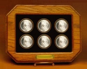 Champion Custom Wood Frame - Six Coin Display C-105-6