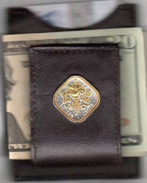 2-Toned Gold on Silver Bahamas 15 cent Hibiscus  - Folding Money clip
