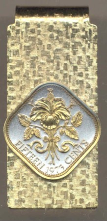 2-Toned Gold on Silver  Bahamas 15 cent Hibiscus - Hinged Money Clip