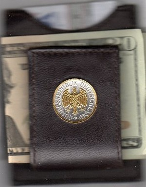 2-Toned Gold on Silver German 1 mark Eagle - Folding Money clip