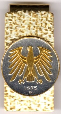 2-Toned Gold on Silver German 5 Mark Eagle - Hinged Money Clip