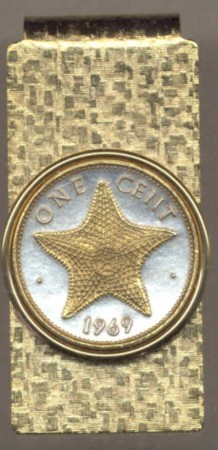 2-Toned Gold on Silver Bahamas 1 cent Starfish - Hinged Money Clip