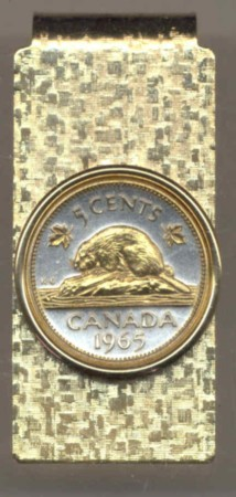 2-Toned Gold on Silver Canadian nickel Beaver - Hinged Money Clip