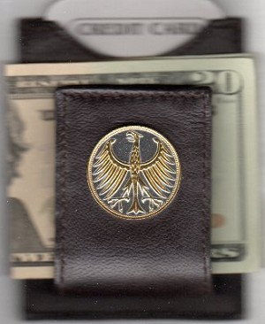 2-Toned Gold on Silver German 5 mark Silver coin Eagle - Folding Money clip