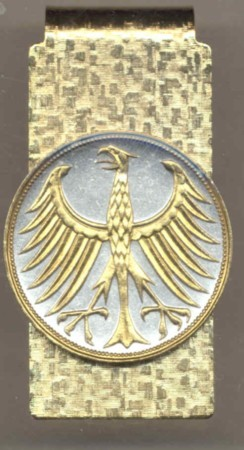 2-Toned Gold on Silver German 5 mark Silver coin Eagle - Hinged Money Clip