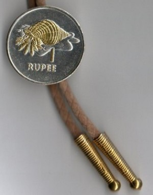 2-Toned Gold on Silver Seychelles 1 Rupee Conch - Bolo-Tie