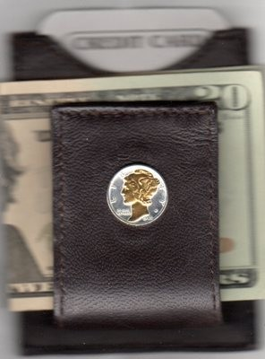 2-Toned Gold on Silver Mercury silver dime (minted 1916 - 1945) - Folding Money clip