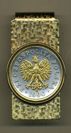 2-Toned Gold on Silver Polish 50 Zlotych Eagle with Crown - Hinged Money Clip