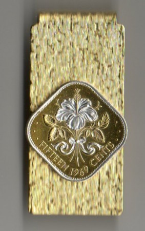 2-Toned Gold on Silver Bahamas 15 cent White Hibiscus - Hinged Money Clip