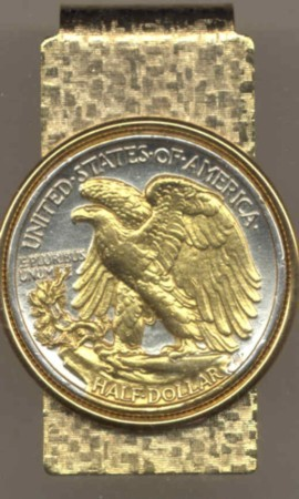 2-Toned Gold on Silver U S  Walking Liberty Silver half (reverse) - Hinged  Money Clip