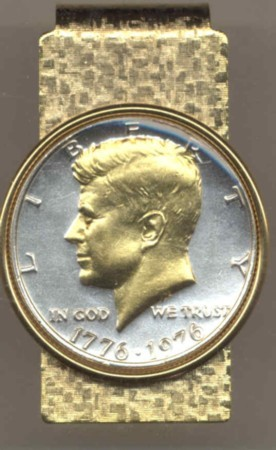 2-Toned Gold on Silver Bicentennial Kennedy half 1976 - Hinged Money Clip