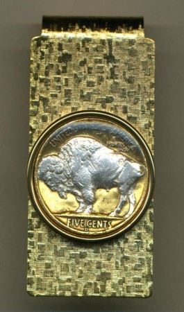 2-Toned Gold on Silver Buffalo nickel Sacred White Buffalo - Hinged Money Clip