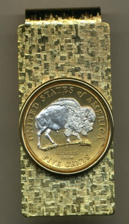 2-Toned Gold on Silver New Jefferson nickel Sacred White Buffalo ( minted 2005) - Hinged Money Clip